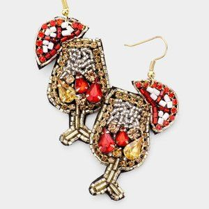 Red & Gold Beaded Cocktail Earrings
